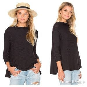 Free People Drapey Ribbed Black Sweater